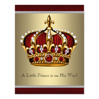 Red Gold Crown Prince Boy Baby Shower 4.25x5.5 Paper Invitation Card