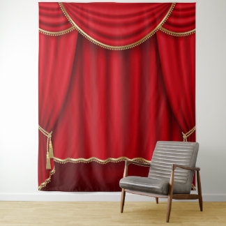 Red Gold Curtain Photo Backdrop Banner Tapestry