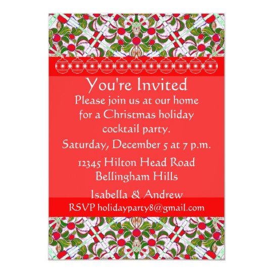 Red & Gold Custom Christmas Party Invitation