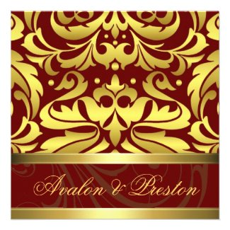 Red & Gold Damask Baroque Wedding Invitation