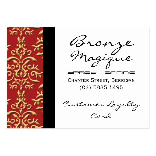 Red Gold Damask Business Customer Loyalty Cards Business Card