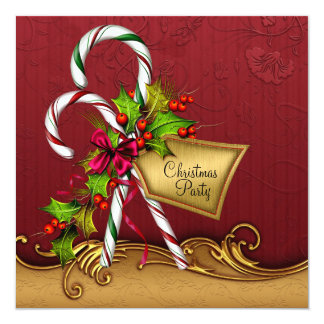 Red Gold Damask Candy Canes Christmas Party Card