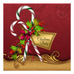 Red Gold Damask Candy Canes Christmas Party Announcement
