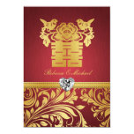 """Red & Gold Damask, Chinese Double Happiness Invite 5"""" X 7"""" Invitation Card"""