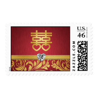 Red & Gold Damask Chinese Double Happiness Postage Stamp