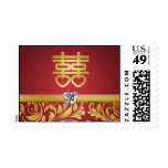 Red & Gold Damask Chinese Double Happiness Postage
