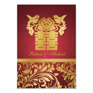 Red & Gold Damask, Chinese Double Happiness RSVP 3.5x5 Paper Invitation Card
