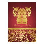 Red & Gold Damask, Chinese Double Happiness RSVP Custom Announcements