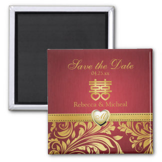 Red & Gold Damask, Chinese Double Happipness 2 Inch Square Magnet