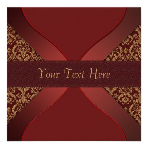 Red Gold Damask Christmas Party Invitations