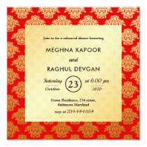 Red Gold Damask Pattern Indian Rehearsal Dinner Invitation