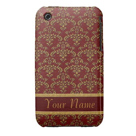 Red & Gold Damask Pattern iPhone 3 Case-Mate Case