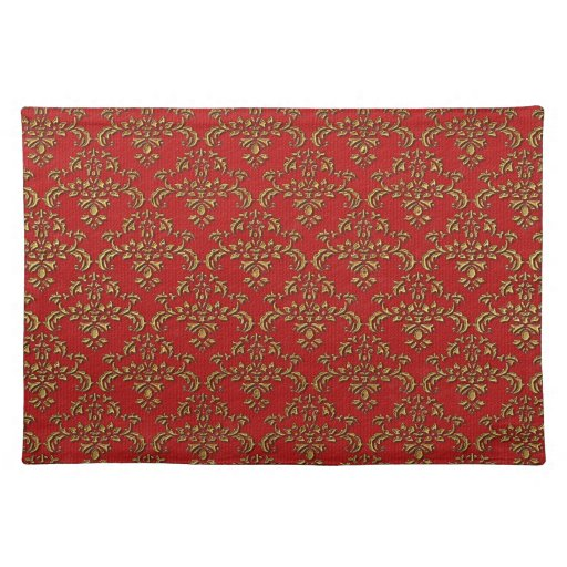 Red amp Gold Damask Pattern Placemat Zazzle