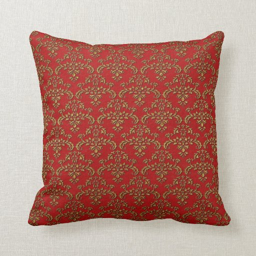 Red Gold Decorative Pillows : Red & Gold Damask Throw Pillow Zazzle
