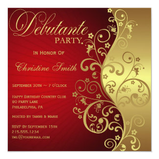 Red &  Gold Debutante Party Invitation