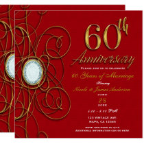 Red & Gold Diamond 60 60th Anniversary Card
