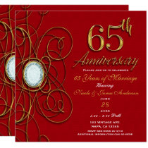 Red & Gold Diamond 65 65th Anniversary Card