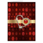 red gold diamonds romantic valentines greeting card