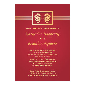 """Red & Gold Dragon Invitations 5"""" X 7"""" Invitation Card"""