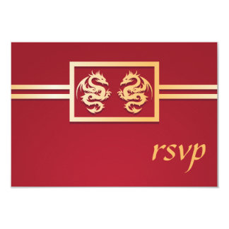 Red & Gold Dragon RSVP Invitations