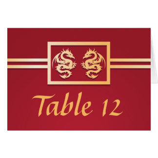 Red & Gold Dragon Table Place Numbers Greeting Card