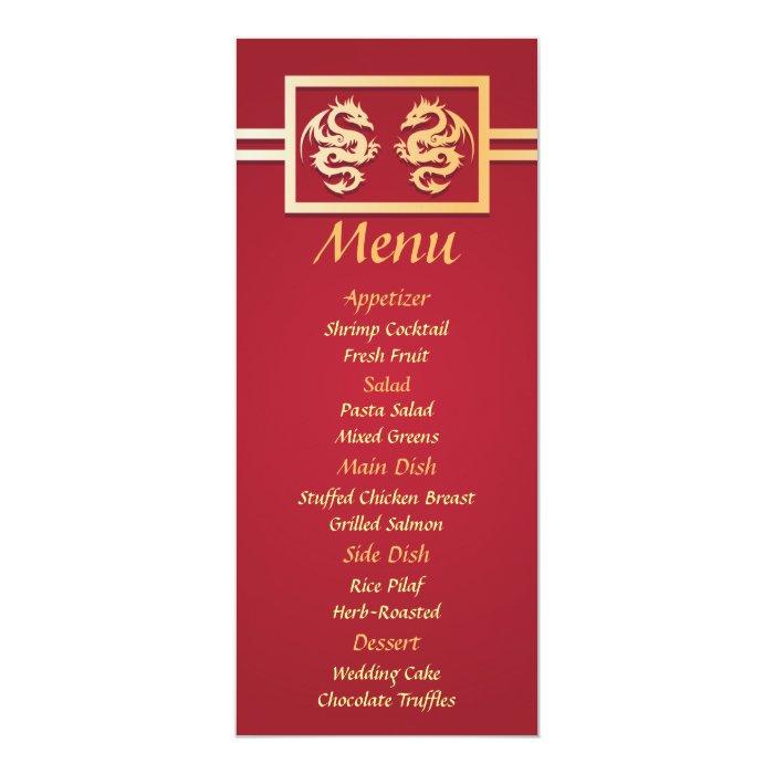 Red Amp Gold Dragon Wedding Reception Dinner Menu Card