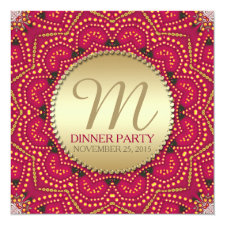 Red Gold Eastern Bohemian Indian Dinner Party Invitation