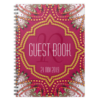Red Gold Eastern Bohemian Monogram Guest Book Spiral Notebook