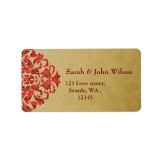 red gold elegance return address label
