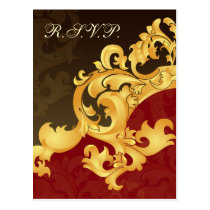 red gold elegance RSVP cards