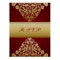 red gold elegance RSVP cards