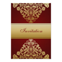 red gold elegance wedding invitation