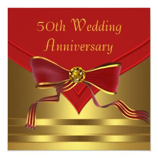 Red Gold Elegant 50th Golden Wedding Anniversary Custom Invitation