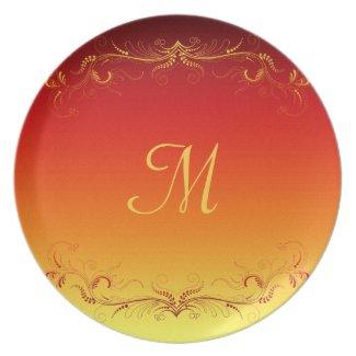 Red Gold Elegant Vintage Custom Plate