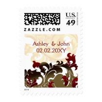 red gold elegant wedding stamps