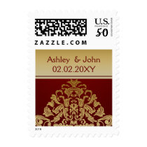 red gold elegant wedding stamps