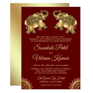 Red Gold Ethnic Elephants Indian Wedding Invite