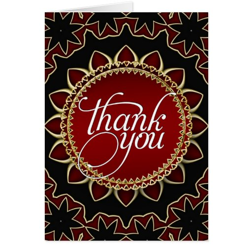 Red Gold Exotic Sunflower Thank You Cards