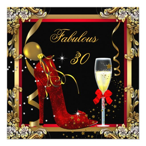 Red Gold Fabulous 30 Birthday Party Personalized Invitation