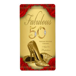 Red Gold Fabulous 50 Wine Bottle Labels