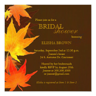Red Gold Fall Maple Leaves Bridal Shower Card