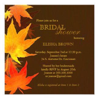Red, Gold Fall Maple Leaves Bridal Shower Invites