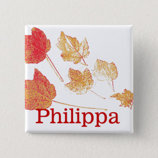 Red Gold Fall Maple Leaves Nametag Pin-back Button