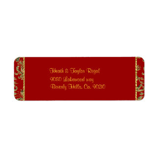 Red & Gold Fancy Folded Baroque Wedding Label