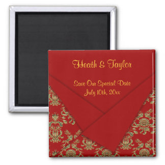 Red & Gold Fancy Folded Baroque Wedding Magnet