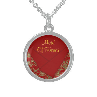 Red & Gold Fancy Folded Baroque Wedding Sterling Silver Necklace