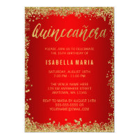 Red Gold Faux Glitter Quinceanera 15th Birthday Card