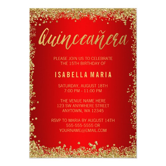 Red gold faux glitter quinceanera 15th birthday invitation zazzle red gold faux glitter quinceanera 15th birthday invitation filmwisefo