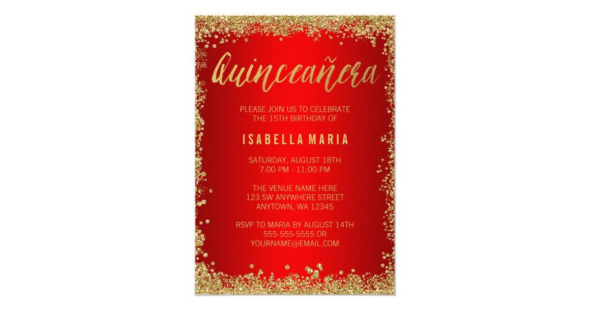 Red Gold Faux Glitter Quinceanera 15th Birthday Invitation   Zazzle.com
