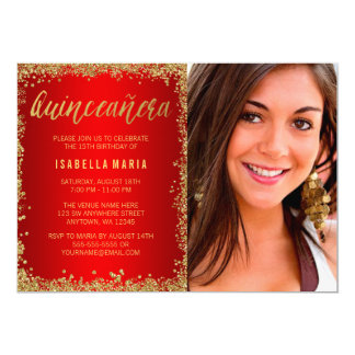 Red Gold Faux Glitter Quinceanera 15th Photo Card